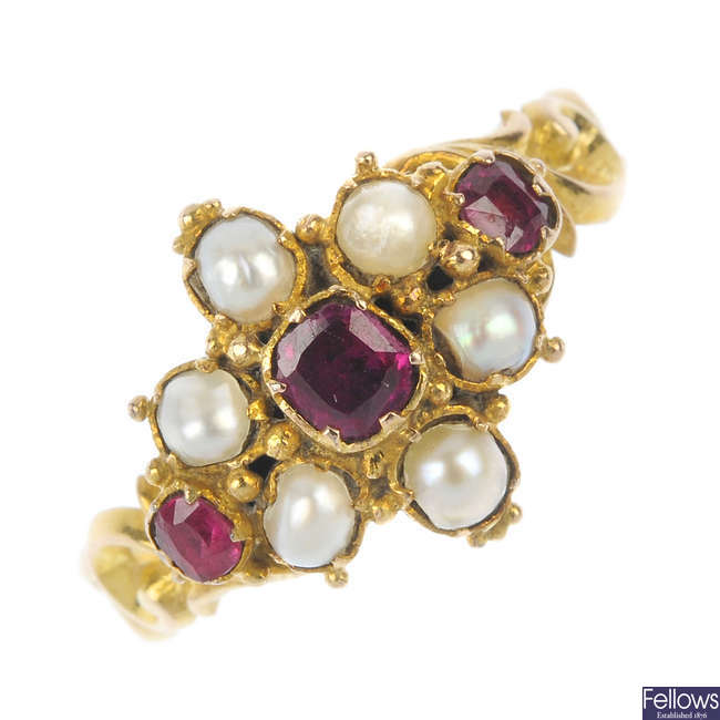 A mid Victorian 12ct gold ruby and split pearl cluster ring.