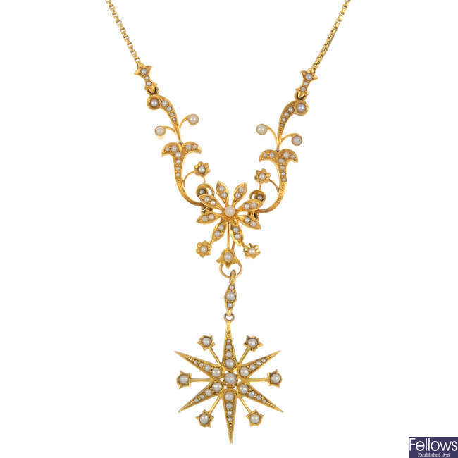 An early 20th century 15ct gold split pearl necklace
