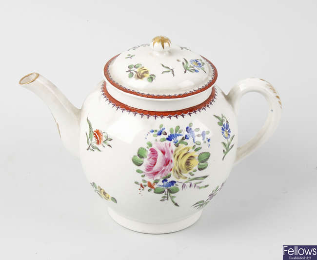 An 18th century English porcelain teapot attributed to Bow, circa 1765-1770