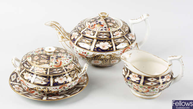 A selection of early to mid 19th century Bloor Derby porcelain Imari/Japan pattern teawares
