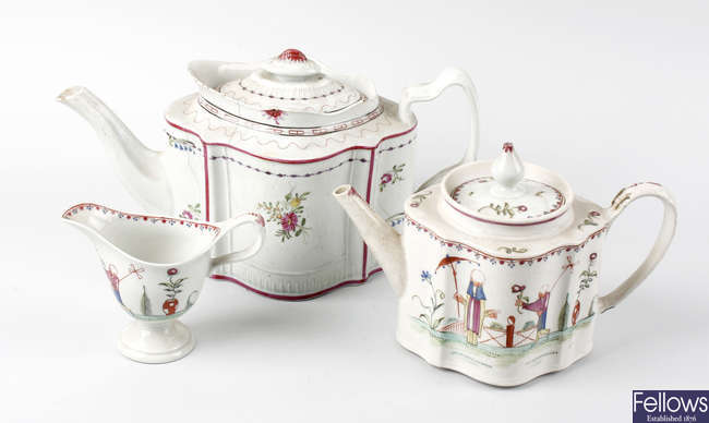 A rare late 18th century New Hall attributed Bubblehead pattern porcelain tea service