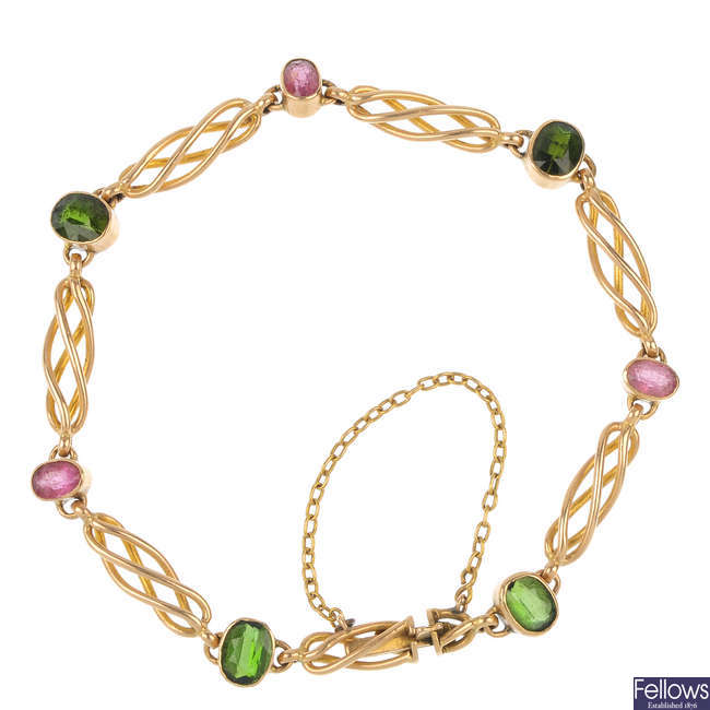 An early 20th century 15ct gold tourmaline bracelet.