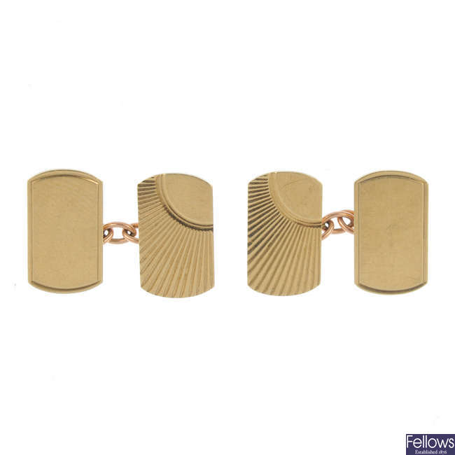Two pairs of 9ct gold cufflinks.