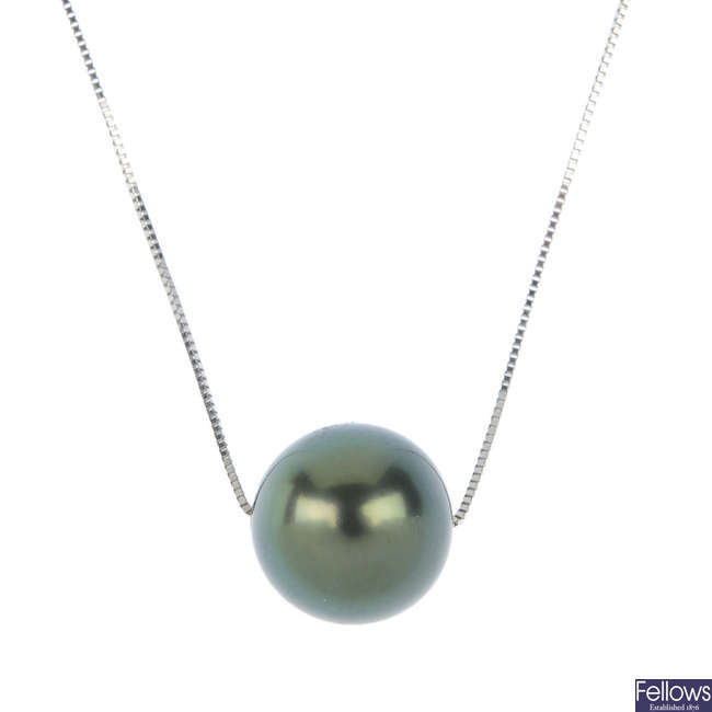 A cultured pearl pendant.