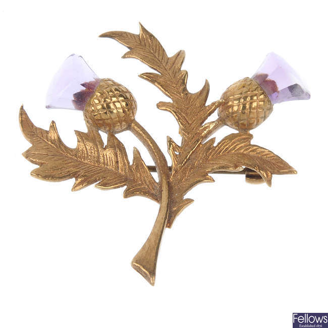 A 9ct gold amethyst thistle brooch.