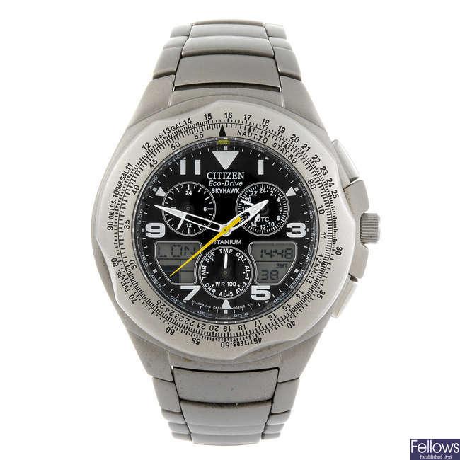 CITIZEN - a gentleman's Eco-Drive Skyhawk chronograph bracelet watch.