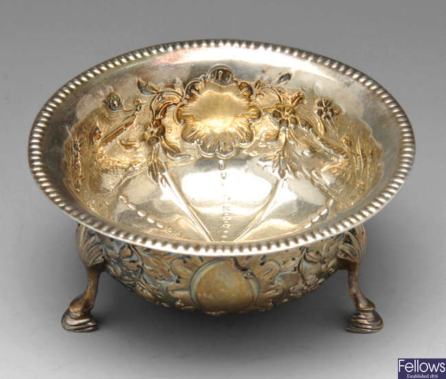 A late Victorian silver bowl with Chinoiserie decoration.