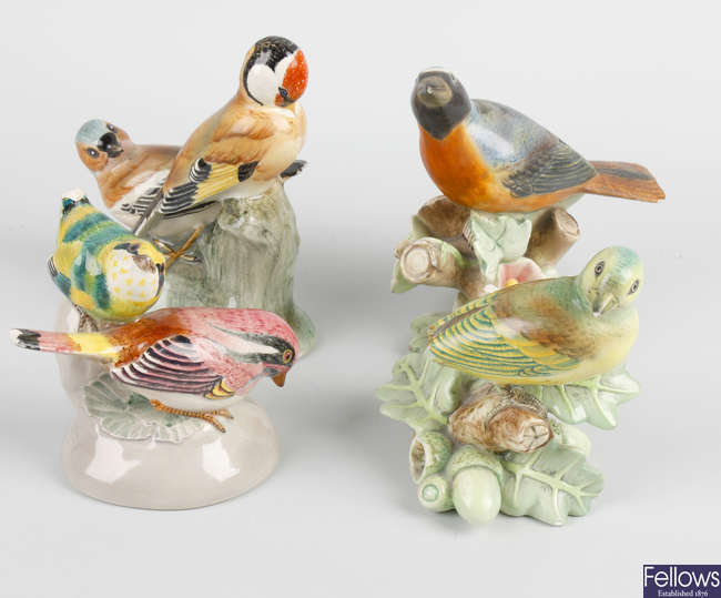 Four assorted Italian Lenci ceramic bird studies