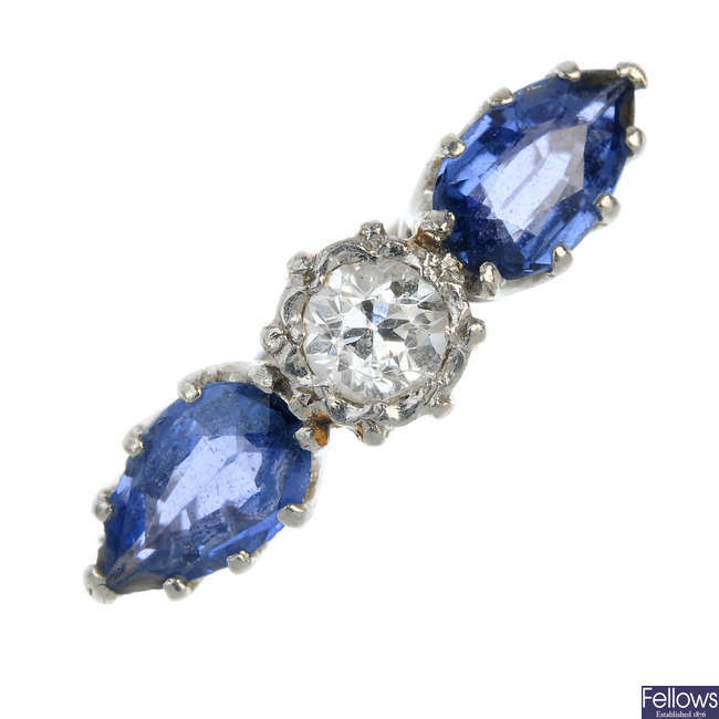 A mid 20th century 18ct gold and platinum, diamond and sapphire three-stone ring.