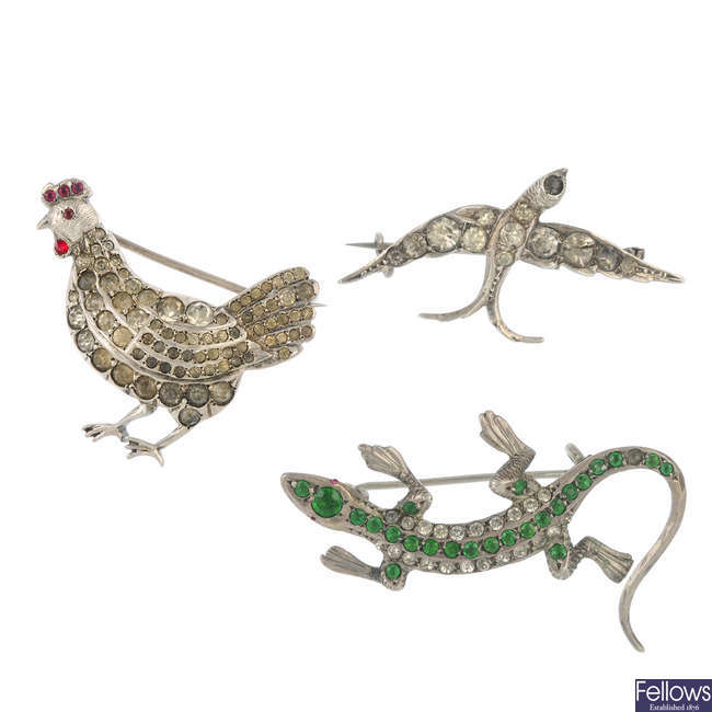 Four early 20th century paste animal brooches.
