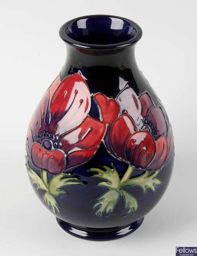 A Moorcroft 'Anemone' pattern vase