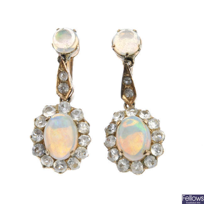 A pair of mid 20th century opal and paste cluster ear pendants.