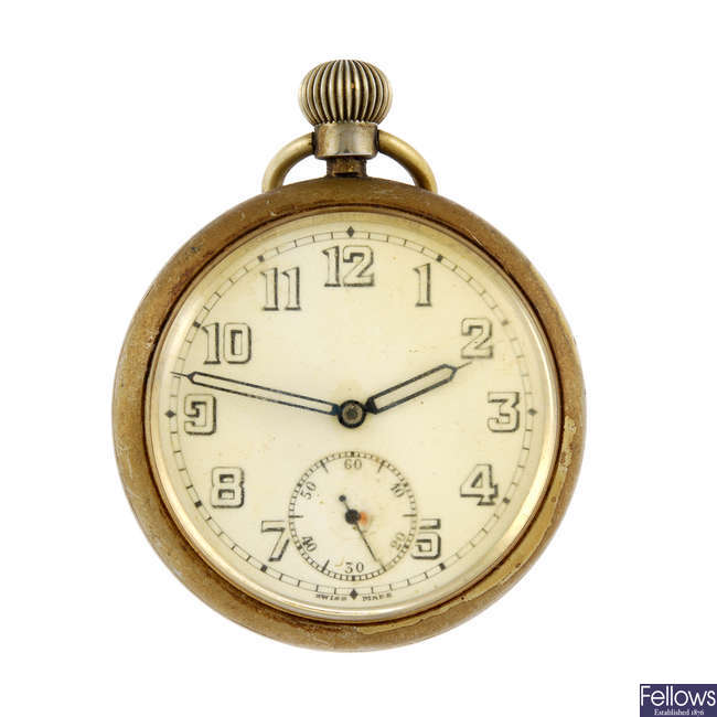 An open face military issue pocket watch with a silver open face pocket watch.