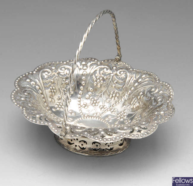 A Victorian silver sweetmeat basket.