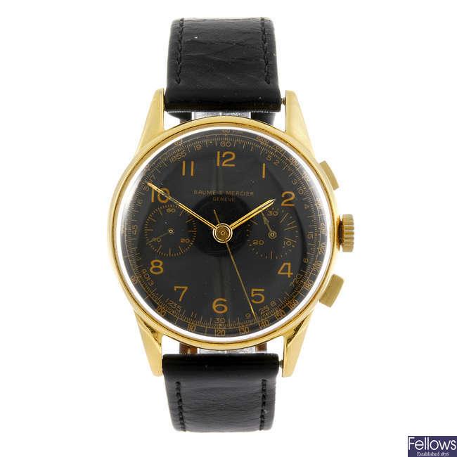 BAUME & MERCIER - a gentleman's chronograph wrist watch.