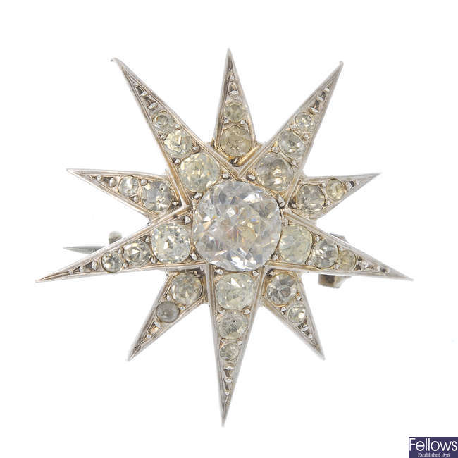 An early 20th century paste star brooch.