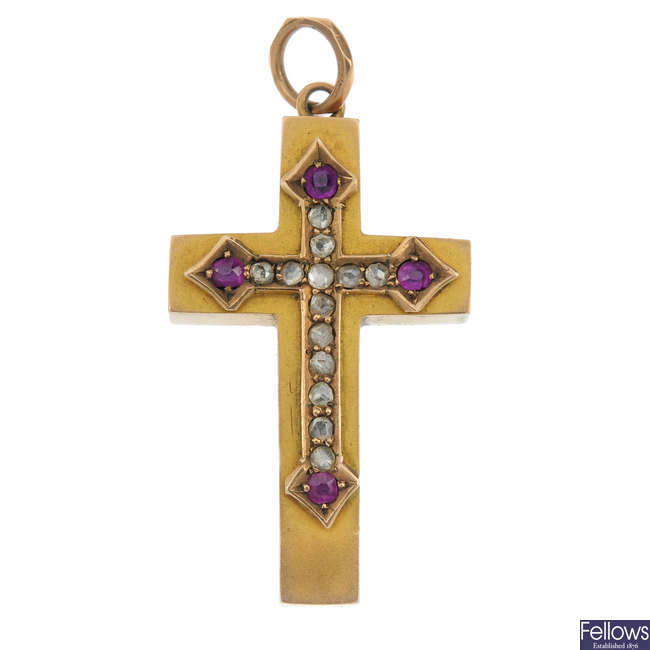 A late Victorian 9ct gold diamond and ruby cross pendant.