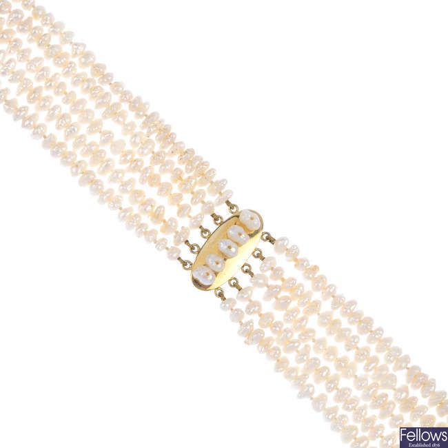 A freshwater cultured pearl five-row choker.