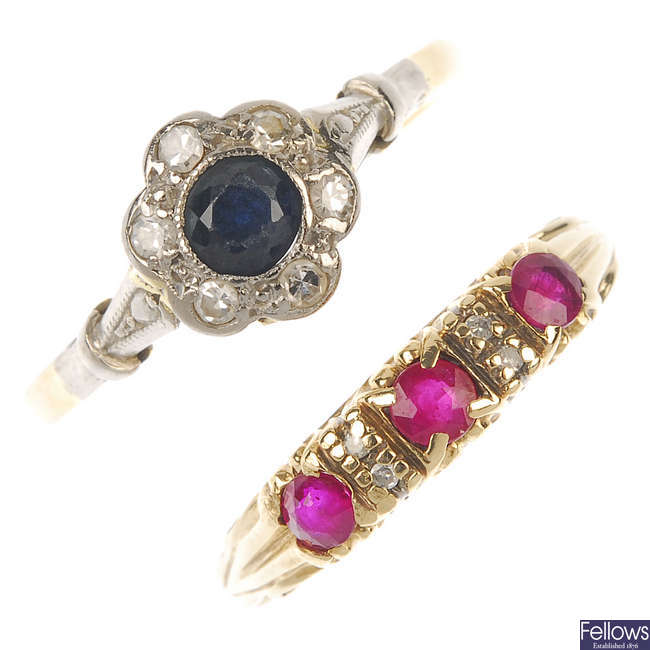 Two early to mid 20th century 18ct gold diamond and gem-set rings.