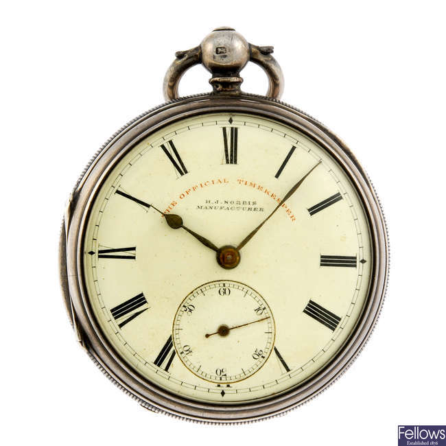 An open face pocket watch by H.J. Norris, Coventry.