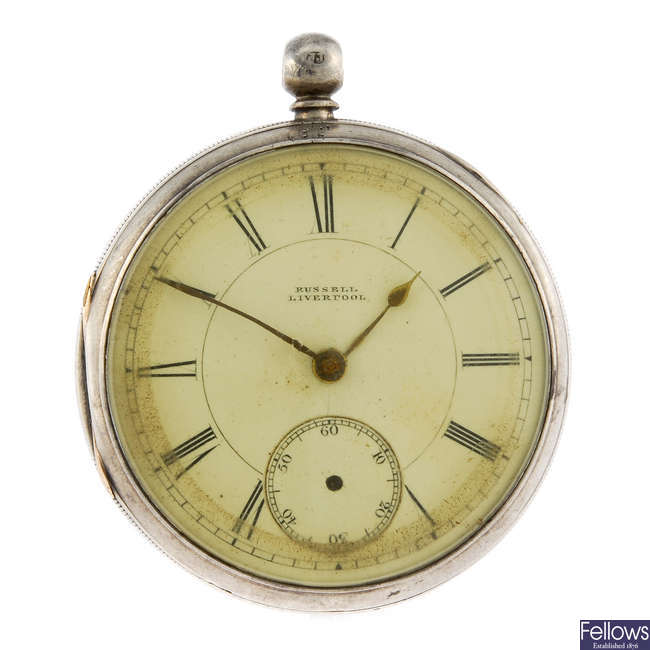 An open face pocket watch by Thomas Russell & Son, Liverpool.