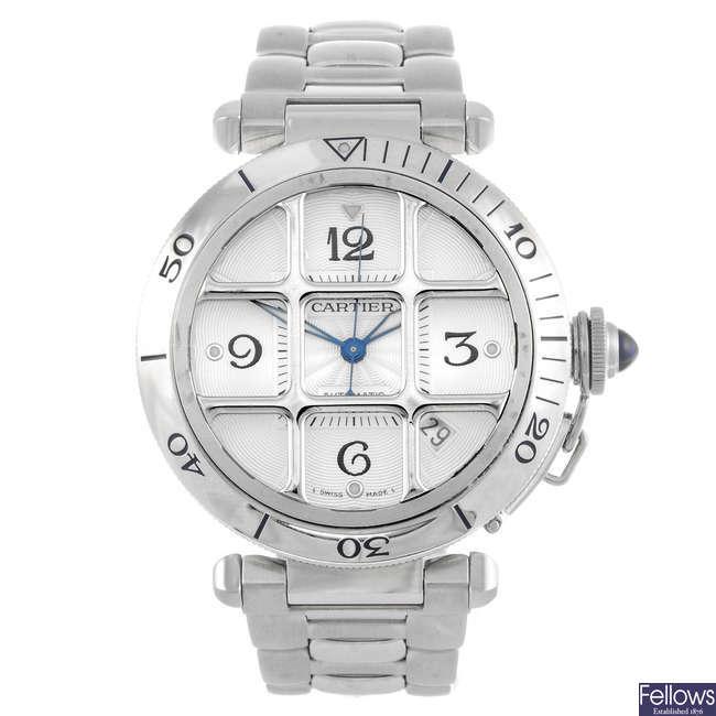CARTIER - a Pasha Grille bracelet watch.
