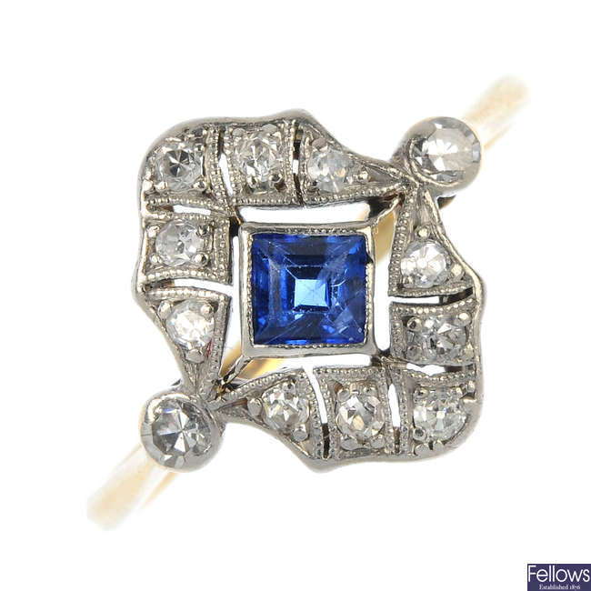 An early 20th century 18ct gold and platinum sapphire and diamond dress ring.