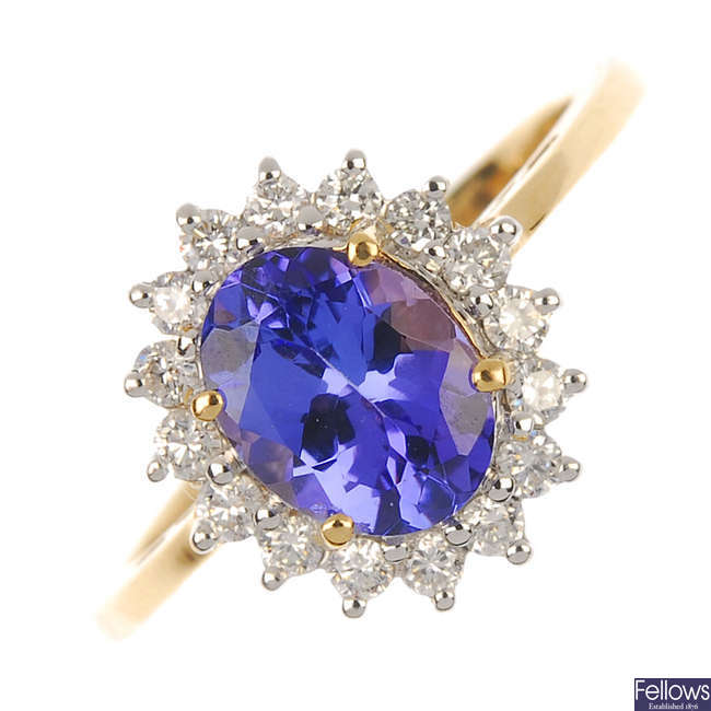 An 18ct gold diamond and tanzanite cluster ring.
