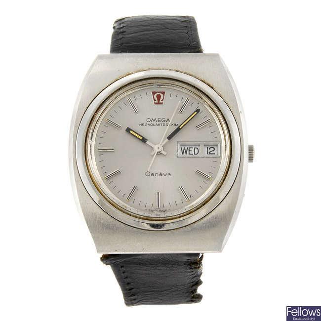 OMEGA - a gentleman's stainless steel Megaquartz wrist watch