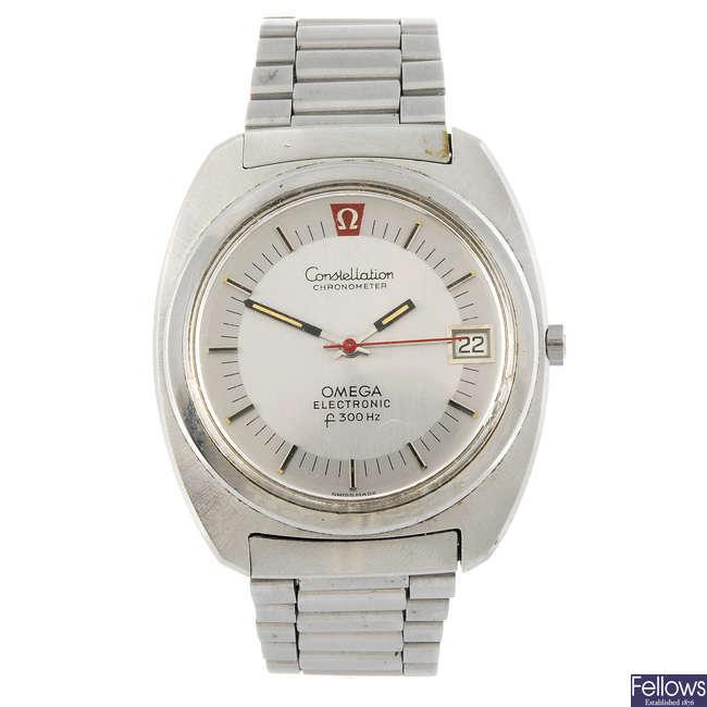 OMEGA - a gentleman's stainless steel Constellation F300Hz bracelet watch.