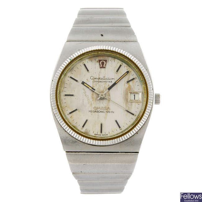 OMEGA - a gentleman's Megasonic bracelet watch together with an Omega quartz wrist watch.