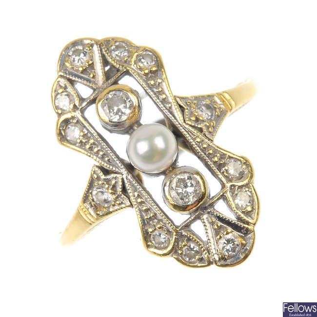 A diamond and seed pearl ring.