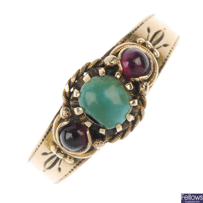 A late 19th century Russian gold turquoise and garnet ring.