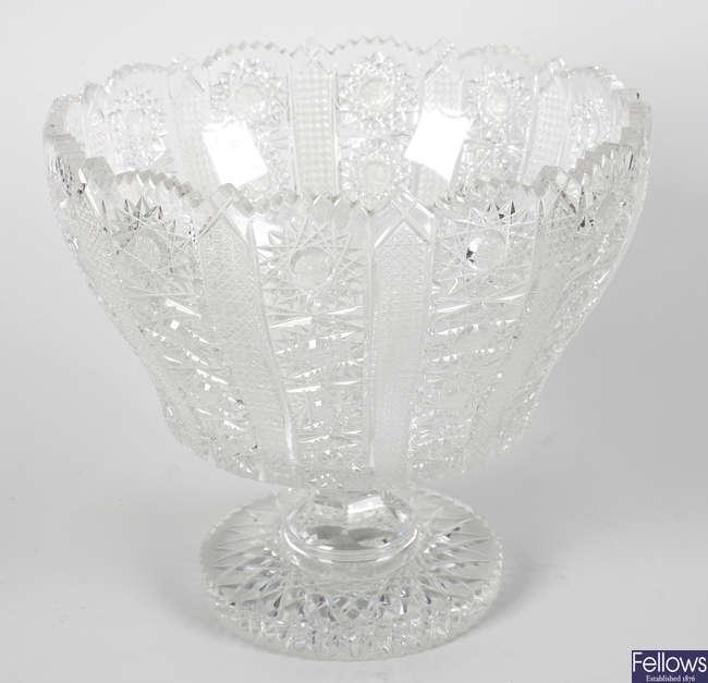 A good cut lead crystal glass pedestal bowl