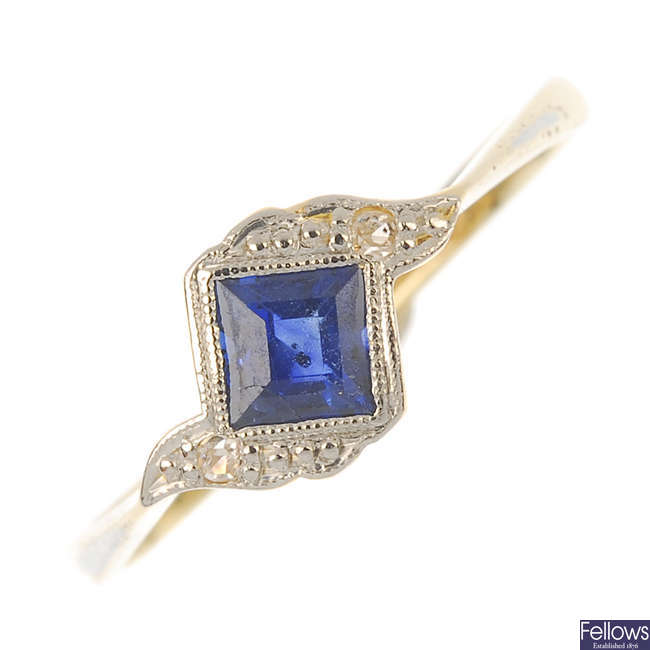 An early 20th century 18ct gold and platinum sapphire and diamond ring.