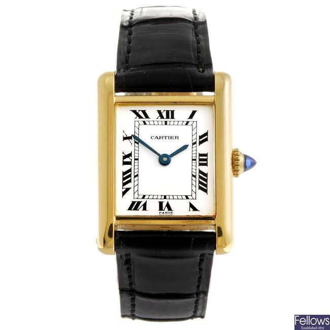 CARTIER - a Tank wrist watch.