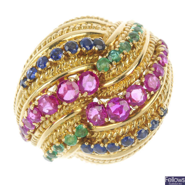 A mid 20th century 18ct gold ruby, emerald and sapphire dress ring.