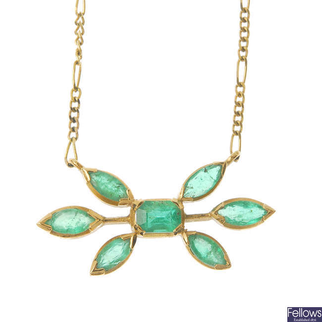 A 9ct gold emerald necklace.