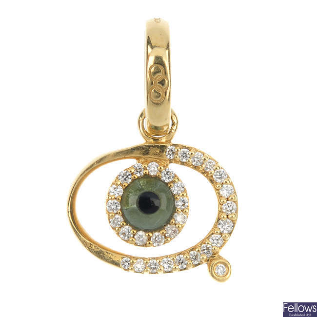 LINKS OF LONDON - an 18ct gold 'Watch Over Me Evil Eye' gem-set pendant.