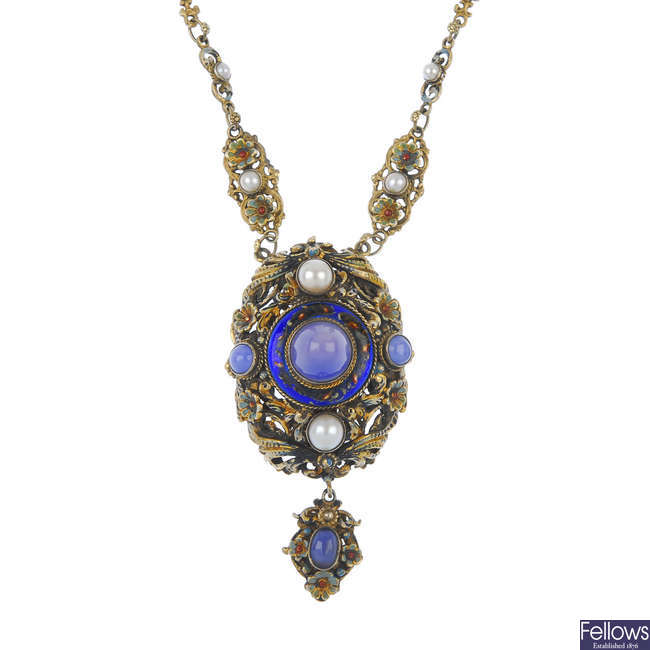 A late 19th century Austro-Hungarian paste, split pearl and enamel necklace.