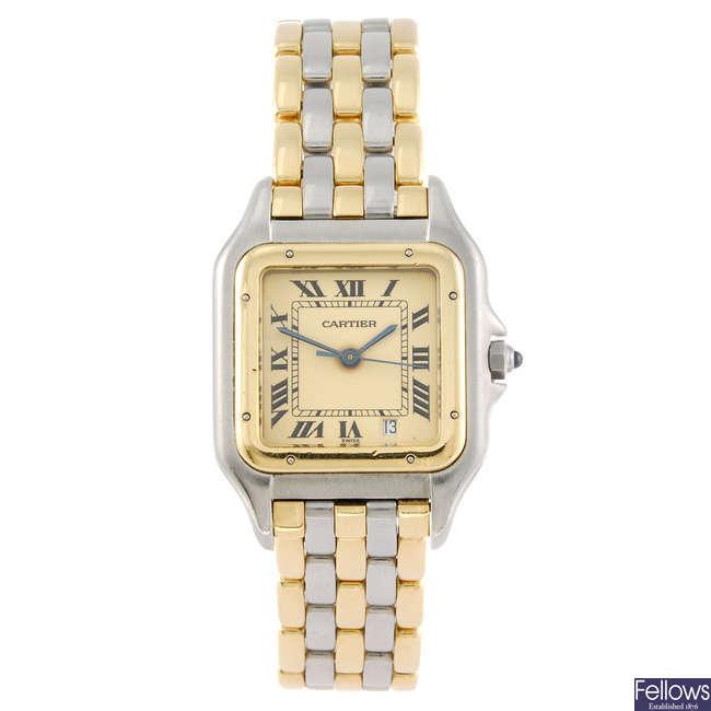 CARTIER - a Panthere bracelet watch.