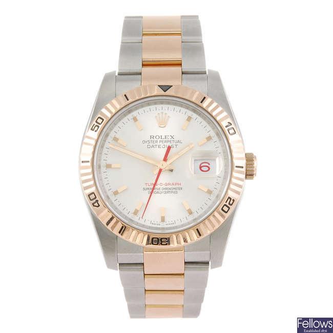 ROLEX - a gentleman's Oyster Perpetual Datejust Turn-O-Graph bracelet watch.