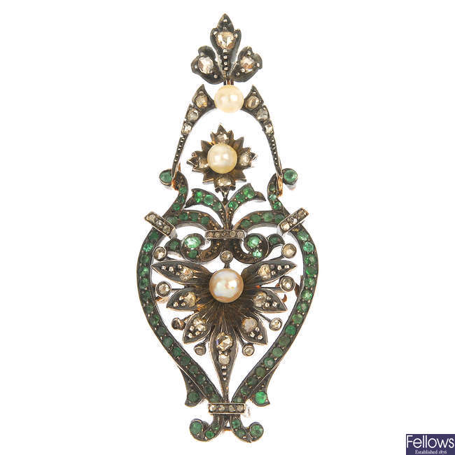 A late 19th century continental gold and silver gem-set pendant.