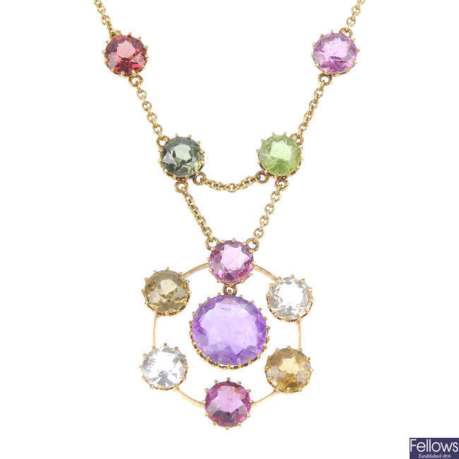 An early 20th century 15ct gold multi-gem necklace.