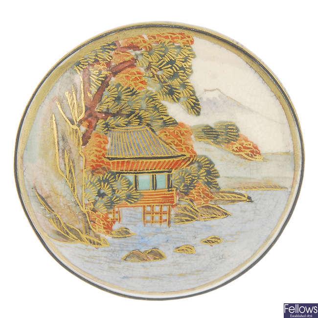 An early 20th century Satuma ceramic brooch.