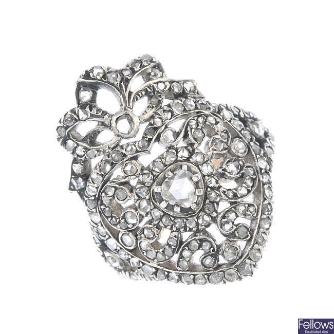 A late 19th century silver diamond dress ring.