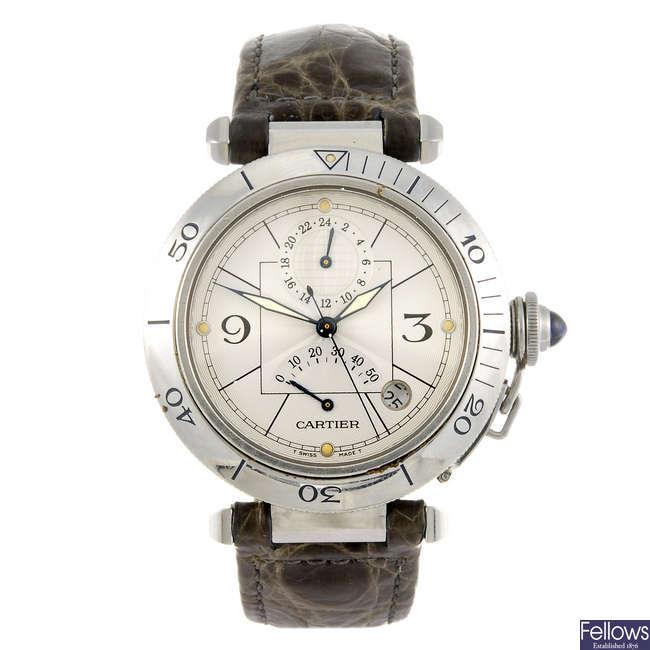 CARTIER - a Pasha de Cartier GMT wrist watch.