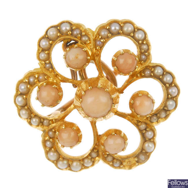 An early 20th century 15ct gold coral and split pearl floral brooch.
