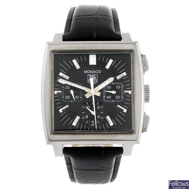 TAG HEUER - a gentleman's Monaco chronograph wrist watch.