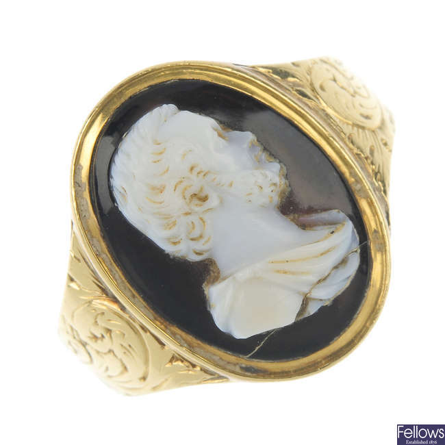 An onyx cameo ring.
